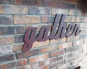 Leather Brown Gather Sign - Wood Wall Decor - Family Room - Kitchen - 28 X 12 - Signage - Gallery Wall Decor - Thanksgiving & Holiday Decor