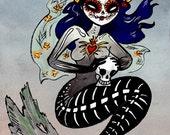 Spooky Dia de los Muertos Mermaid Day of the Dead Original Art Halloween