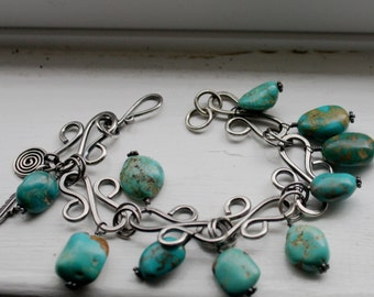 Turquoise Wire Wrapped Sterling Silver Oxidized Bracelet
