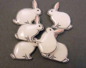 "6 NO HOLE Mirror Image Rabbit Glue On Hair Bow Buttons.  Supply for Earrings, Hair Clips, Scrapbooking.  3/4"" or 20 mm wide."