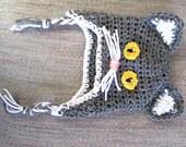 Kitty Baby Hat Unisex Gray White 0-6 Months