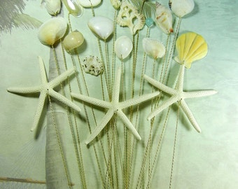 18 Seashell Starfish Stems - Hint of Color Seashells and  Pencil Starfish for Shabby Chic Bouquets Bridal Bouquets or Centerpieces