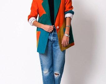 The Vintage Geometric Colorblock Blazer