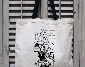 tote bag canvas - book bag - book tote - book lover - book gift - book worm - market tote - rainy day - NOTHING LIKE a RAINY Day - tote bag