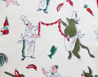 Chef Apron with Rhinestones Mid Century Vintage Print