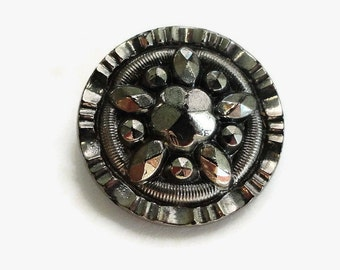 Antique Snowflake Glass Button - Early 1900s Vintage Black with Silver