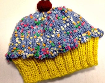 Cupcake Hat with Cherry on Top Lemon Cake Blueberry Sprinkle Frosting Hand made hand knit - baby toddler children adult 3 6 9 12 18 months