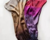 Hand Painted Silk Satin Shawl. Scarf Purple Butterfly. Ombre Hand painted Scarf. Luxury scarves. Purple Fuchsia scarf. Mother's Day Gifts