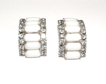 Vintage Milk Glass Earrings, Faux Diamond Art Deco Rhinestone Bridal Jewelry
