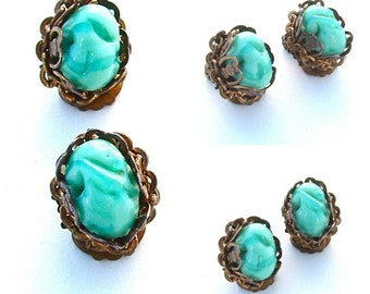 Vintage Miriam Haskell Earrings Designer Signed Blue Glass Stone Chain Turquoise Jewelry