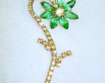 Big Vintage Yellow Green Rhinestone Flower Brooch