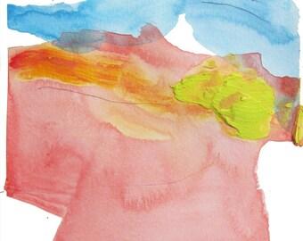 "Original Watercolor, Abstract Landscape on Paper, orange, pink, green, blue, 8 x 10"" original fine art -- ""Painting 734"""