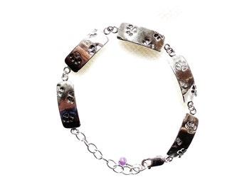Sterling paw print bracelet, puppy print bracelet, kitty print bracelet, pet lover gift