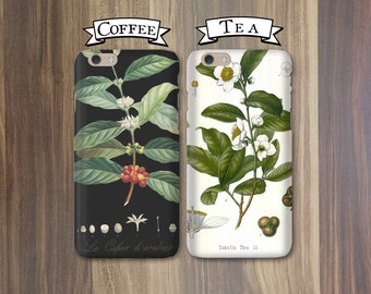 His and Hers Phone Cases - Coffee and Tea, Black and White - iPhone X, 8, 7, 6, 5/5S  Galaxy s8 Cases Couples iPhone Cases Coffee Gift