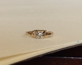 Diamond solitaire Art Deco ring solid 14k gold
