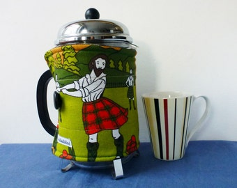 Highland games EXTRA LARGE coffee pot cosy, Scottish reclaimed fabric cafetiere cosy