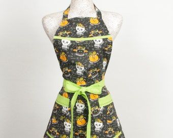 Halloween Skull Apron- Trick or Treat Black and Lime Green