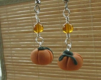 Autumn Pumpkin Dangle Earrings - Handmade Polymer Clay Jewelry