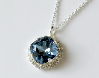 Sapphire Blue Swarovski Crystal Halo Pendant on a Silver Chain, Pendant Necklace