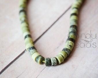 Natural Green Tree Jasper Heishi Tire wheel disc Beads 2x4mm or 3x6 15 inch strand