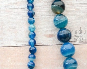 "Blue Striped Agate, Round Beads 12mm 15"" Very Nice Quality Choose size"