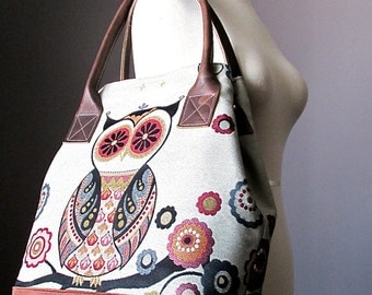 Large tote bag - Tapestry and leather bag - Owl bag - Canvas tote bag