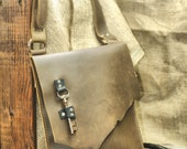 Raw Edge Leather Satchel - Urban Messenger Day Bag - Pirate Skeleton Key Distressed Brown Leather Laptop Carryall