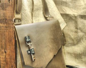 Raw Edge Leather Satchel - Urban Messenger Day Bag - Pirate Skeleton Key Distressed Brown Leather Laptop Carryall