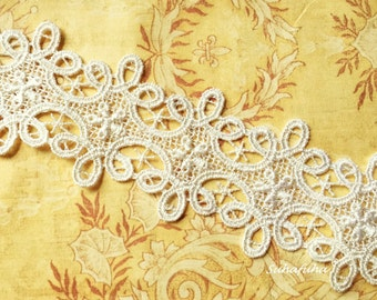 "Ivory Swirly Design Venise Lace Trim Fabulous- 1.7""wide"