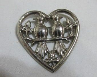 Loverbirds in a Heart Brooch