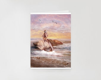 Sunbathing Mermaid Greeting Card // Print of Original Fantasy Illustration