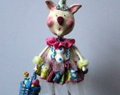 Easter Bunny Rabbit Vintage Inspired Collectible Folk Art Doll
