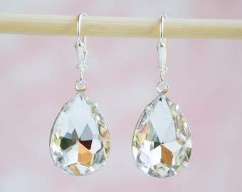 Big Crystal EARRINGS Jewel Vintage PEAR Tear Drop Estate Stye Hollywood Glamour Wedding BRIDE