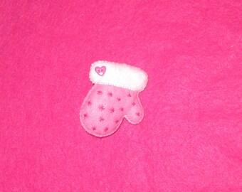 Christmas mitten  - Christmas Mitten Brooch - Cute Winter Accessory - Pink Mittens - Christmas Pin - Christmas Brooch - Stocking Stuffer