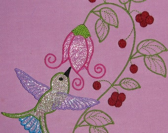 Machine Embroidery Design- Hummingbird Colorline #01 with 3 sizes Included!