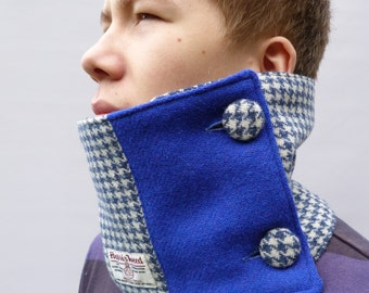 READY TO SHIP Colour Block Harris Tweed Neckwarmer Scarf - wool houndstooth tweed, Blue