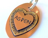 ASPEN Copper and Brass Mixed Metal Pet ID Tag, Halter Tag, Collar Tag, Large ID Tag For Dogs & Horses