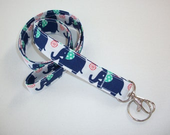Fabric Lanyard / ID Holder with key ring - blue elephants navy, white, orange and seafoam - lobster claw clasp and key ring