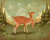Baby Deer Print 10x8 - Children's Art, Nursery Art, Deer, Fawn, Butterfly, Forest, Woods, Baby Art, Animal, Cute, Autumn, Kids, Woodland