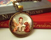 Woodland Storytime - Book Necklace, Book Pendant, Book Jewelry, Reading, Fox, Bear, Bunny, Gift Teacher, Gift Writer, Librarian, Book Lover