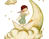Let Your Dreams Set Sail 8x10 Print - Nautical Nursery Art for Kids, Nautical Art, Nautical Kids Decor, Girls Room, Sailor, Moon, Paper Boat