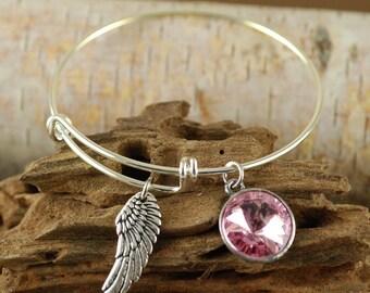 Wing Bangle Bracelet, Birthstone Jewelry, Silver Expandable Bangle, October Bangle, Pink Rose Jewelry