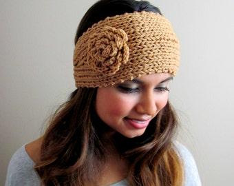 Knit Head Wrap Flower Blossom Chunky Thick Headband Button Ear Warmer Winter Handmade HeadBand Muffler Camel - or CHOOSE Your color