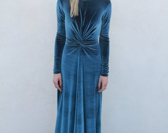 Ink Velvet Knot Dress