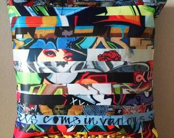 Graffiti Pillow cover, street art pillow, LA, Los Angeles, urban, home decor, hip hop, pop art pillow