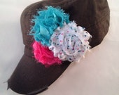 Black Make it your own Shabby flowers on a black distressed hat-you choose flowers