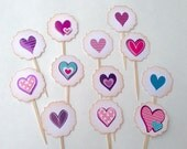 Sweet Patterned Hearts- Cupcake Toppers/Party Sticks