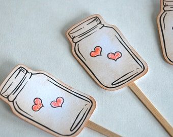 Vintage Bell Jar, Hearts, Wedding, Love, Valentines Day - Cupcake Toppers/Party Sticks