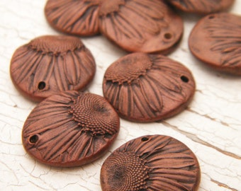 MATCHED PAIR Rustic Copper Brown - Tiny Daisy Charms rustic boho pressed flower beads - set of 2 charms (ready to ship)