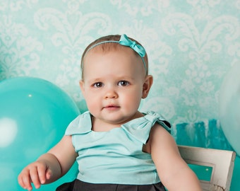 Aqua Blue Baby Headband, Aqua Baby Hair Bow, Toddler Headband, Newborn Headband, Turquoise Blue Headband, Baby Girl Bow Headband